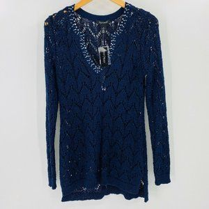 WHBM Embellished Open Weave Tunic Sweater